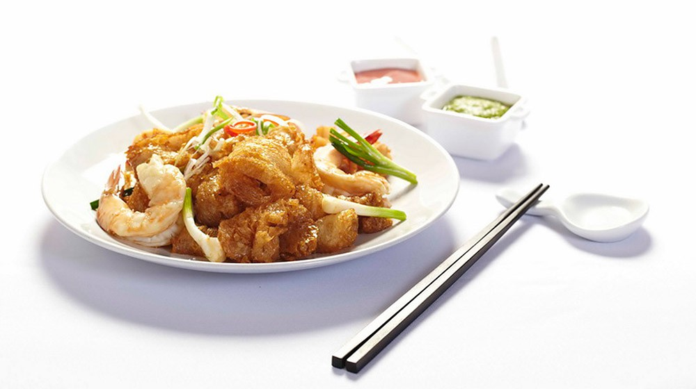 Stir Fried Fish Maw with Tiger Prawn